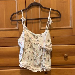 cream & pink roses AE spring tank top